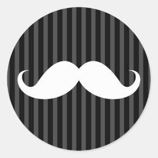 White handlebar mustache on gray black stripes classic round sticker