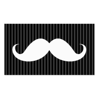 White handlebar mustache on gray black stripes Double-Sided standard business cards (Pack of 100)