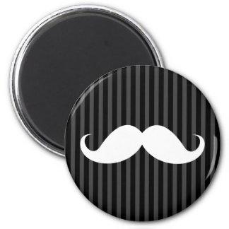 White handlebar mustache on gray black stripes magnet
