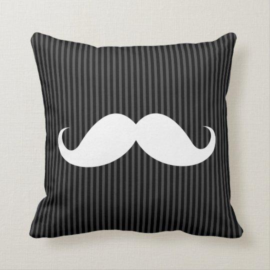White handlebar mustache on gray black stripes throw pillow