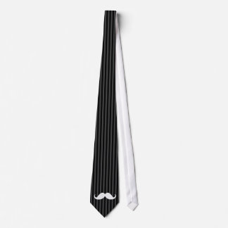 White handlebar mustache on gray black stripes tie