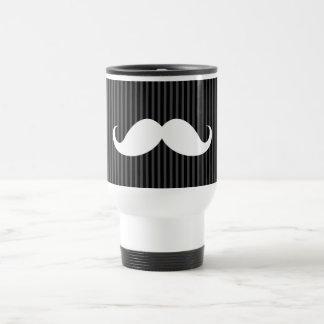 White handlebar mustache on gray black stripes travel mug