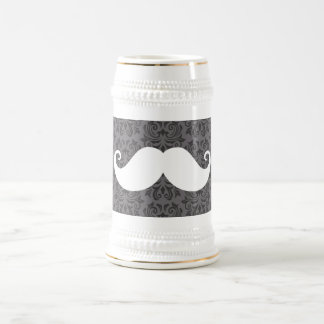 White handlebar mustache on gray damask pattern beer stein