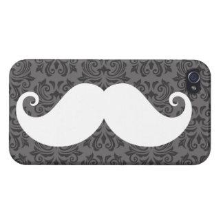 White handlebar mustache on gray damask pattern case for iPhone 4