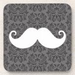 White handlebar mustache on gray damask pattern beverage coasters