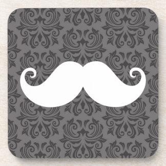 White handlebar mustache on gray damask pattern drink coaster