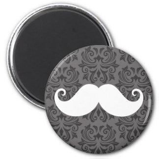 White handlebar mustache on gray damask pattern magnet