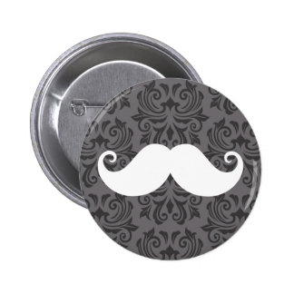 White handlebar mustache on gray damask pattern pinback button