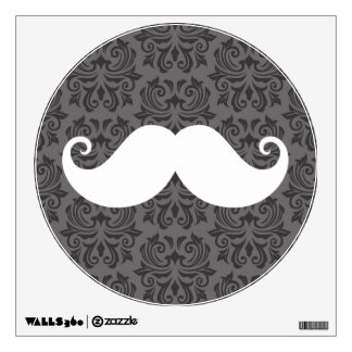 White handlebar mustache on gray damask pattern wall sticker