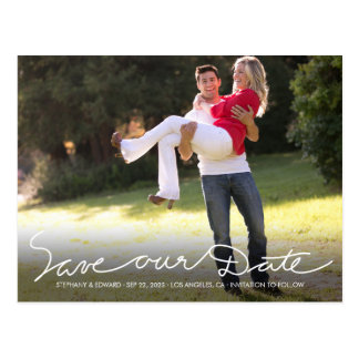White Handwrite Save our Date Photo Postcard