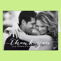 White Handwritten Script Wedding Thank You Card
