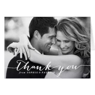 White Handwritten Script Wedding Thank You Card at Zazzle
