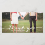 """White Handwritten Script Wedding Thank You Photo<br><div class=""""desc"""">Customizable thank you photo card featuring white hand-lettered script. A black font version is available. Fun and whimsical wedding thank you cards for your loved ones!</div>"""