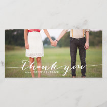 White Handwritten Script Wedding Thank You Photo