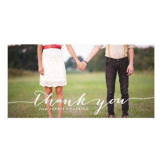 White Handwritten Script Wedding Thank You Photo Card