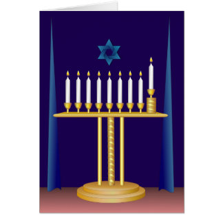 White Hanukkah Candles Card