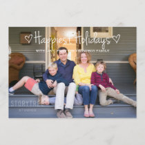White Happiest Holidays Photo Flat Card