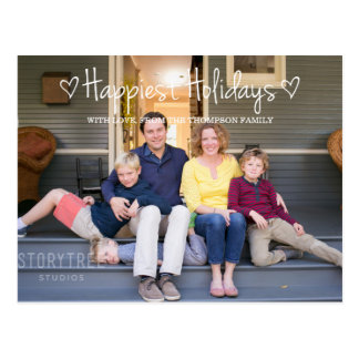 White Happiest Holidays Photo Postcard