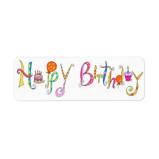 White Happy Birthday Address Label Sticker