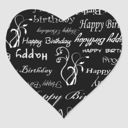 White Happy Birthday Wishes on Black Print Heart Sticker