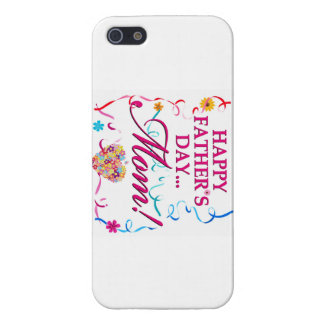 White Happy Fathers Day MOM IPOD or IPhone Case iPhone 5 Cases