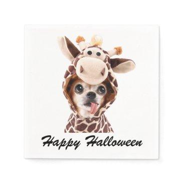 Halloween Themed White Happy Halloween Chihuahua Paper Napkins