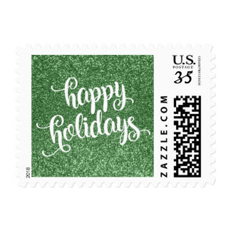 White Happy Holiday Typography, Green Faux Glitter Postage