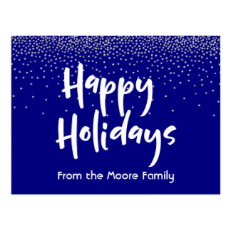 White Happy Holidays over Navy & Silver Confetti Postcard