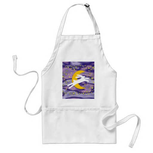 White Hare and Crescent Moon Aprons