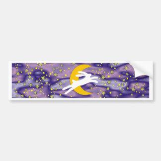 White Hare and Crescent Moon Bumper Sticker