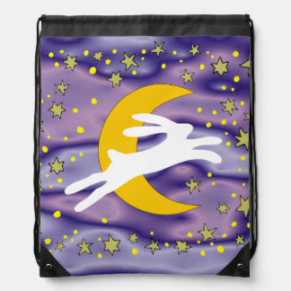 White Hare and Crescent Moon Drawstring Backpack