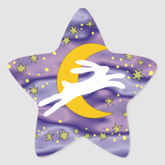 White Hare and Crescent Moon Star Sticker