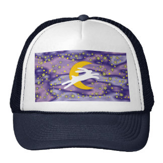 White Hare and Crescent Moon Trucker Hat