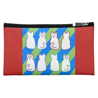 White Harlequin Cats Blue & Green on Red Makeup Bag