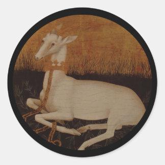 White Hart Stag Diptych Detail Round Sticker