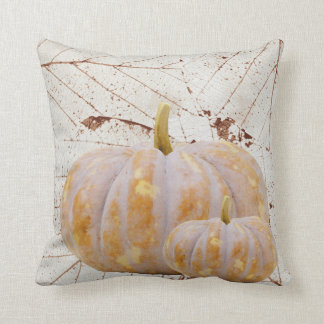 White Harvest Leaves and Pumpkins Happy Fall Throw Pillow