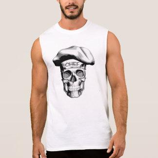White Hat Chef Skull Sleeveless T-shirts