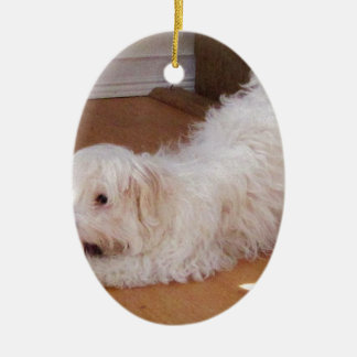 White Havanese Puppy Playing with Red Ball Ceramic Ornament