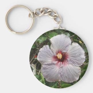 white hawaii basic round button keychain