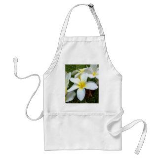White Hawaii Plumeria Flower Adult Apron