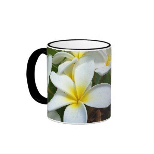 White Hawaii Plumeria Flower Mug