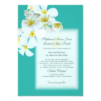 White Hawaiian Flowers Custom Blue Wedding Invite