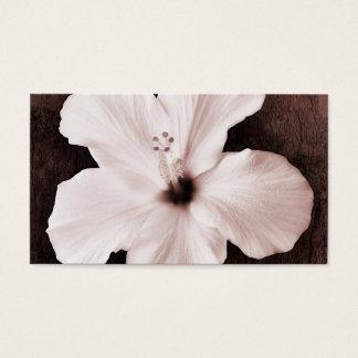 White Hawaiian Hibiscus Sepia Tropical Flower Business Card