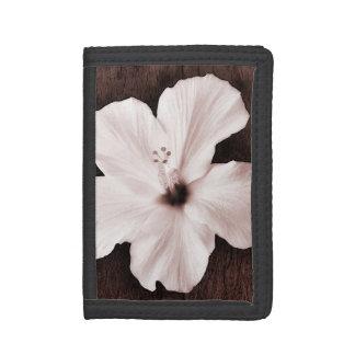 White Hawaiian Hibiscus Sepia Tropical Flower Tri-fold Wallet