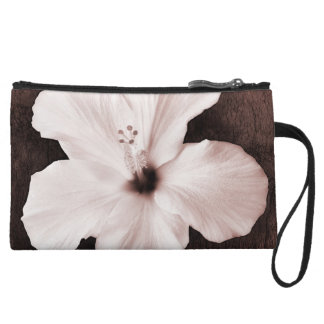 White Hawaiian Hibiscus Sepia Tropical Flower Wristlet Wallet
