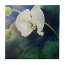 White Hawaiian orchid watercolor painting Tile