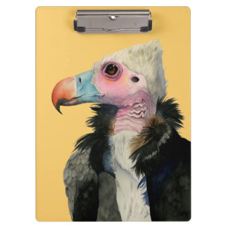 White-Headed Vulture Watercolor Painting Clipboard