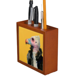 White-Headed Vulture Watercolor Painting Desk Organizer
