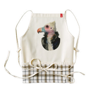 White-Headed Vulture Watercolor Painting Zazzle HEART Apron
