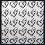 "White Heart Cloth Napkins — Trendy &amp; Elegant<br><div class=""desc"">Make an impression on your guests with these black &amp; white heart pattern cloth napkins. The fabric is a natural cotton and yet if feels very luxurious. They are perfect for parties or seasonal events. @2016 Les Ateliers BOHO.</div>"